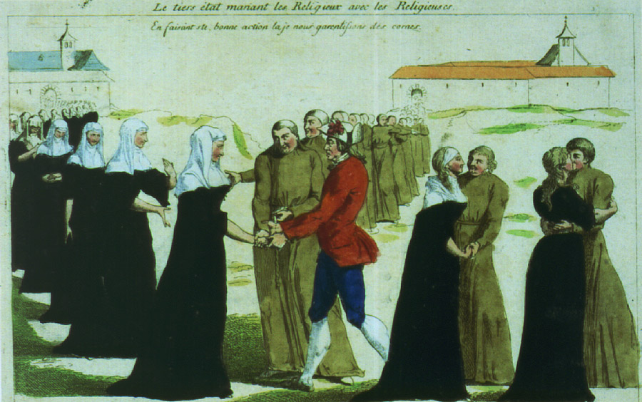 Drawing of nuns and clergymen getting married.
