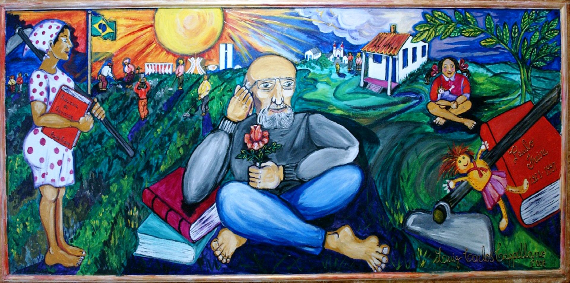 Mural of Paulo Freire surrounded by books and students.