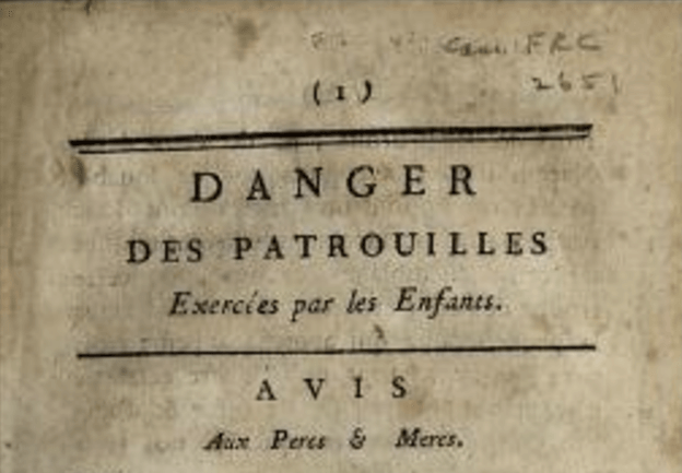 Title page of a book warning about the dangers of children violence.