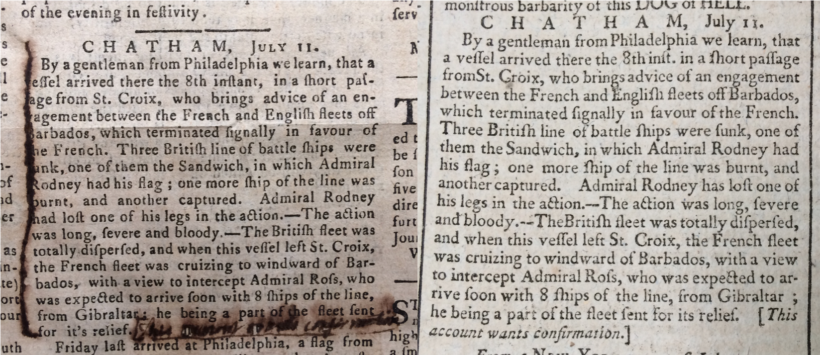 Newspaper article about the events of the Revolutionary war, 1781.