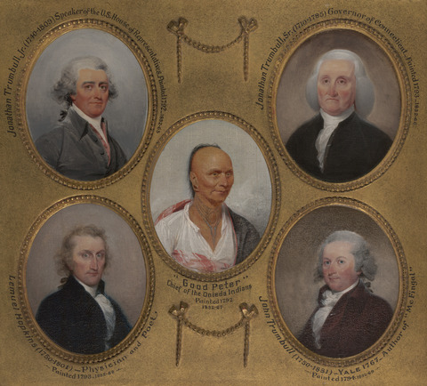 """Portrait of """"Good Peter"""" surrounded by the portraits of four white men."""