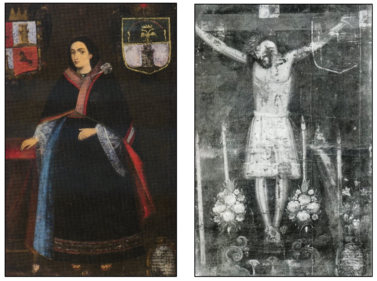 On the left, a painting of Manuela Tupa Amaro. On the right, a depiction of Christ on the cross.