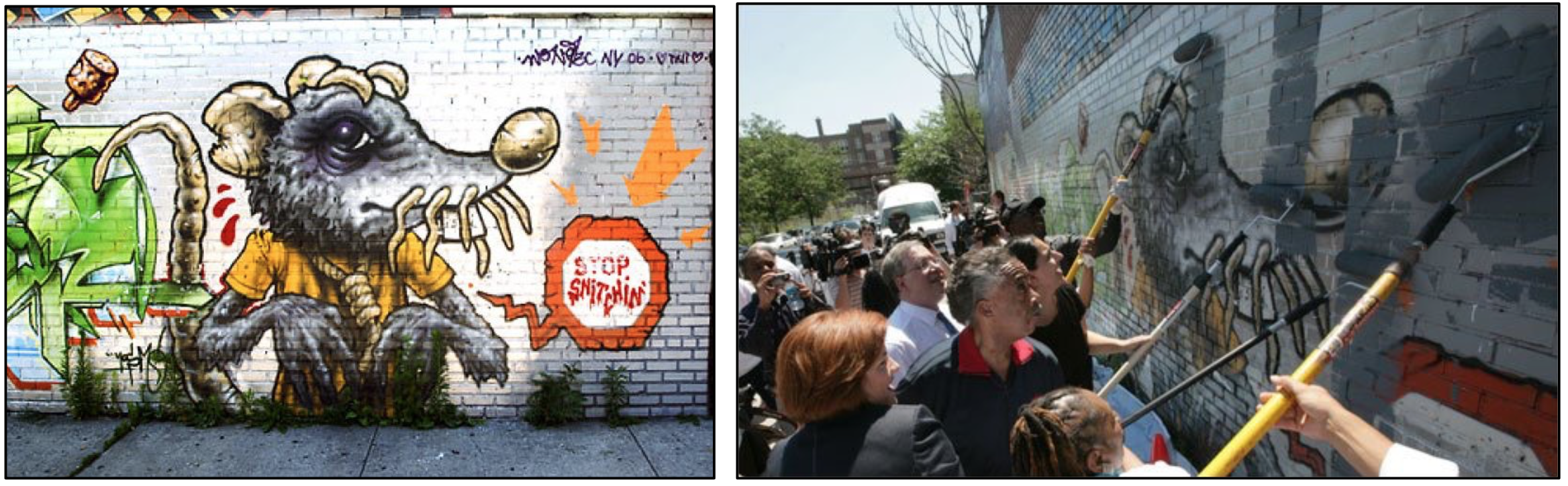 On the left, mural of a rat. with a noose around its neck. On the right, a crowd covering up the mural with paint.