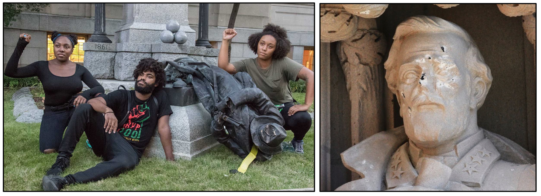 On the left, Protesters posing next to the toppled confederate statue in Durham, NC. On the right, defaced statue of Robert E. Lee.