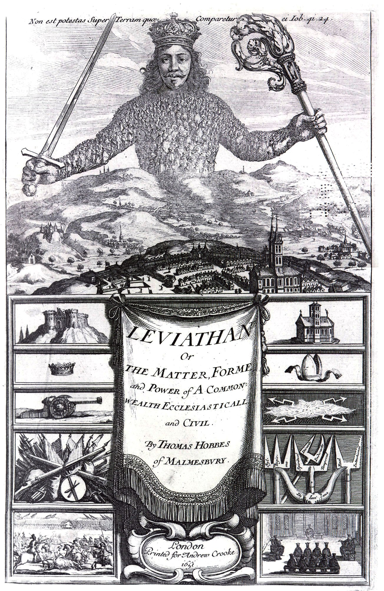 Drawing of Thomas Hobbes as Leviathan.