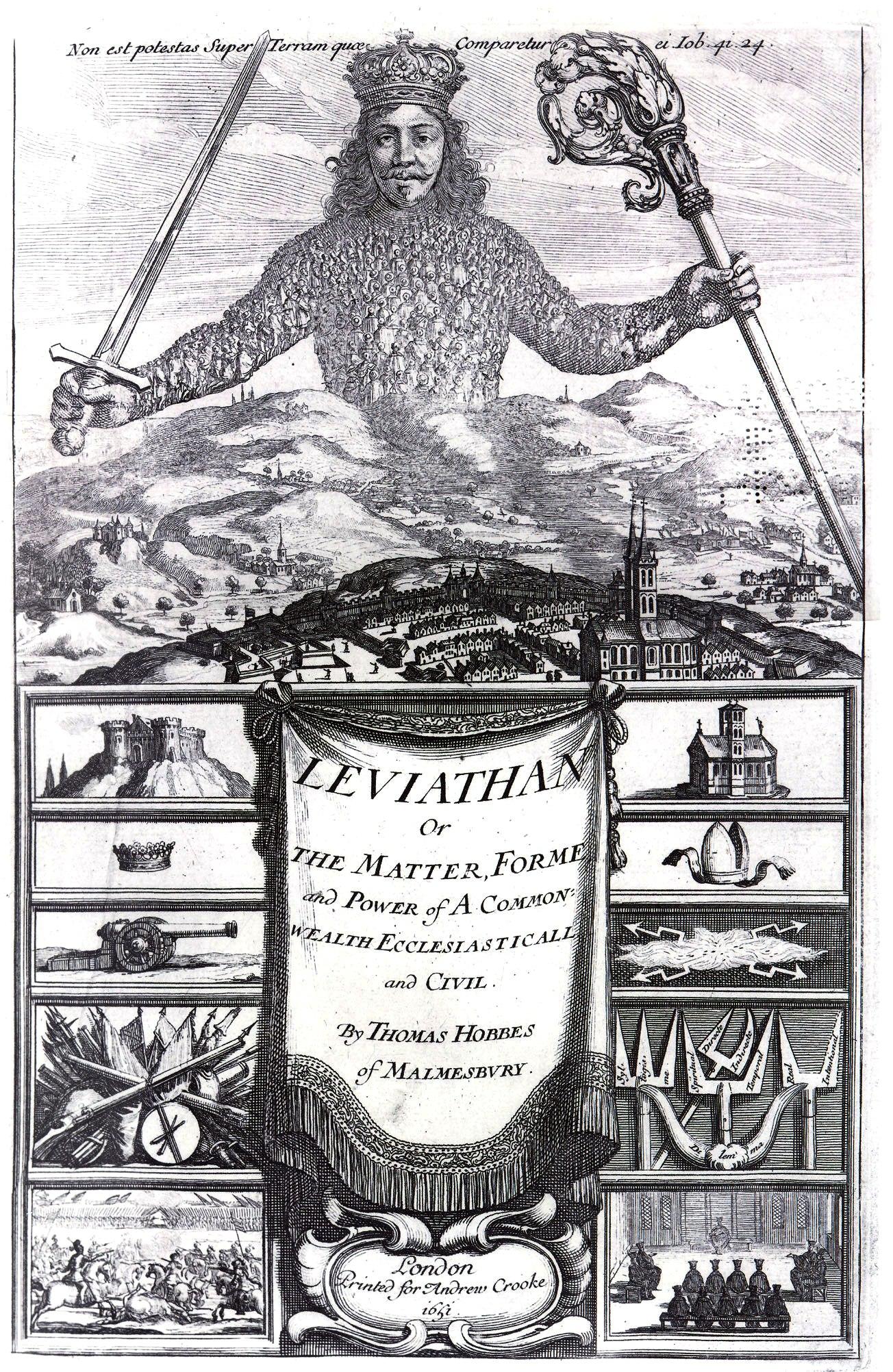 Drawing of Thomas Hobbes as Leviathan.
