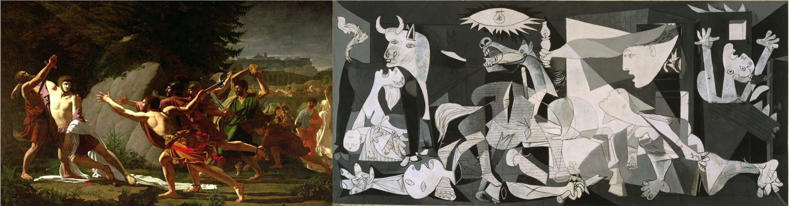 On the left, a painting of the Death of Gaius Gracchus. On the right, the painting Guernica by Picasso.