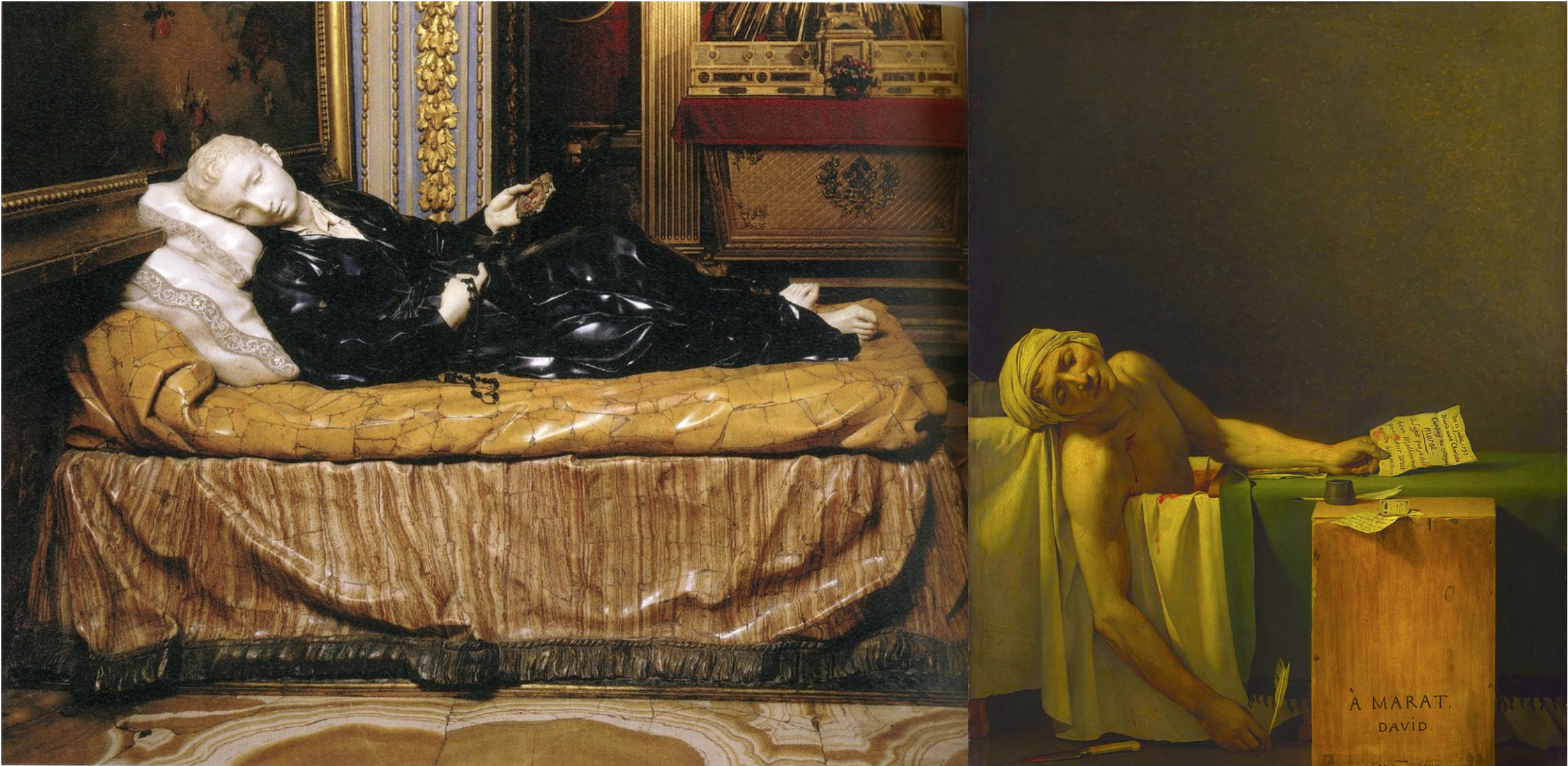 On the left, sculpture of Stanislas Kotska. On the right, painting of the death of Marat in his bathtub.