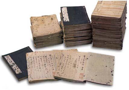 Stacks of manuscript books, called fusetsudome.