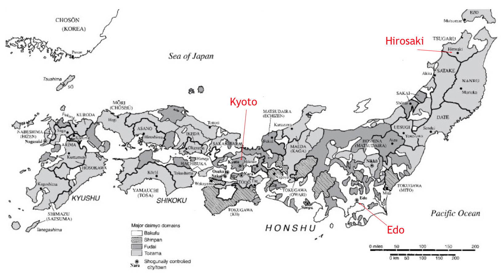 Map of Japan highlighting Daimyo domains in 1664.