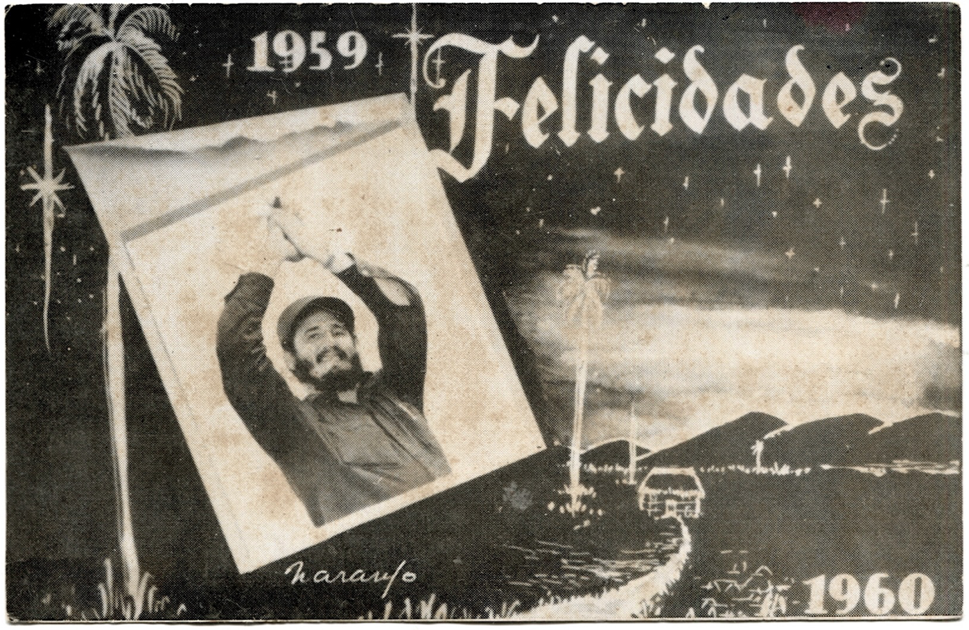 Christmas card with a picture of Fidel Castro.