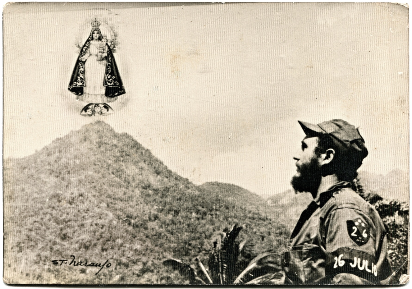 Postcard with Fidel Castro looking towards Our Lady of Charity.
