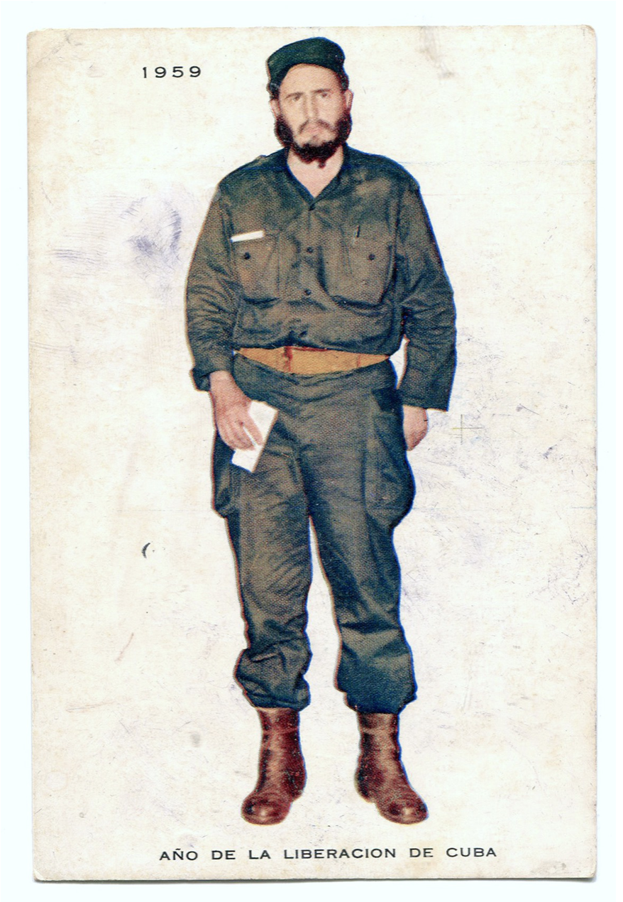 Postcard with full body picture of Fidel Castro.