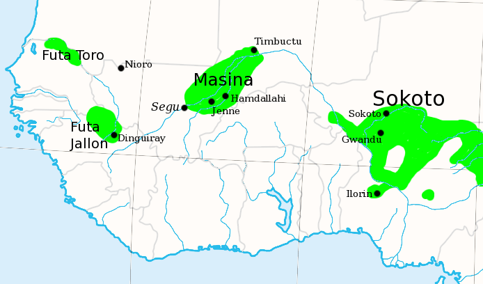Map of West Africa highlighting jihad regions.
