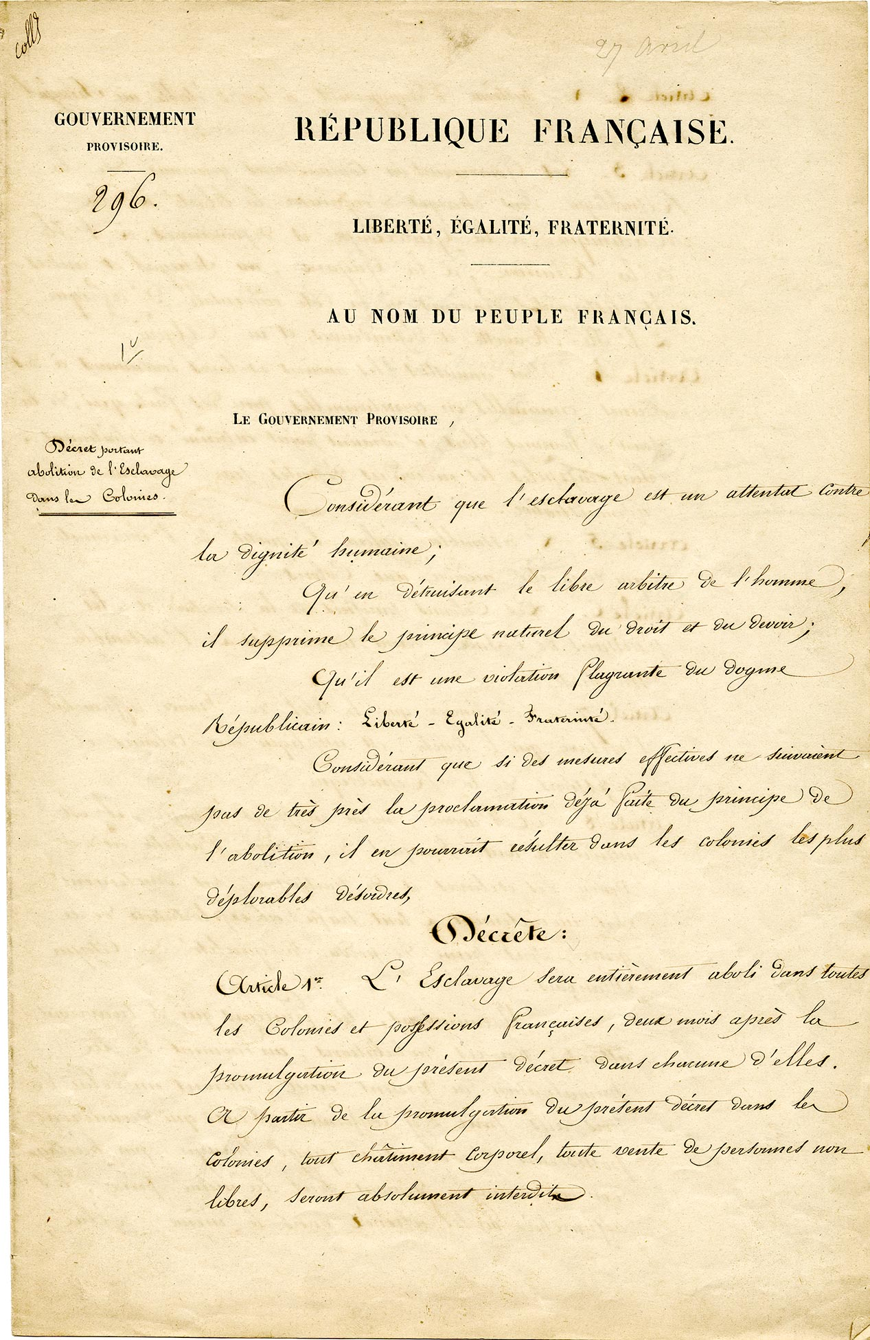 Decree of April 27, 1848 abolishing slavery in the French colonies.