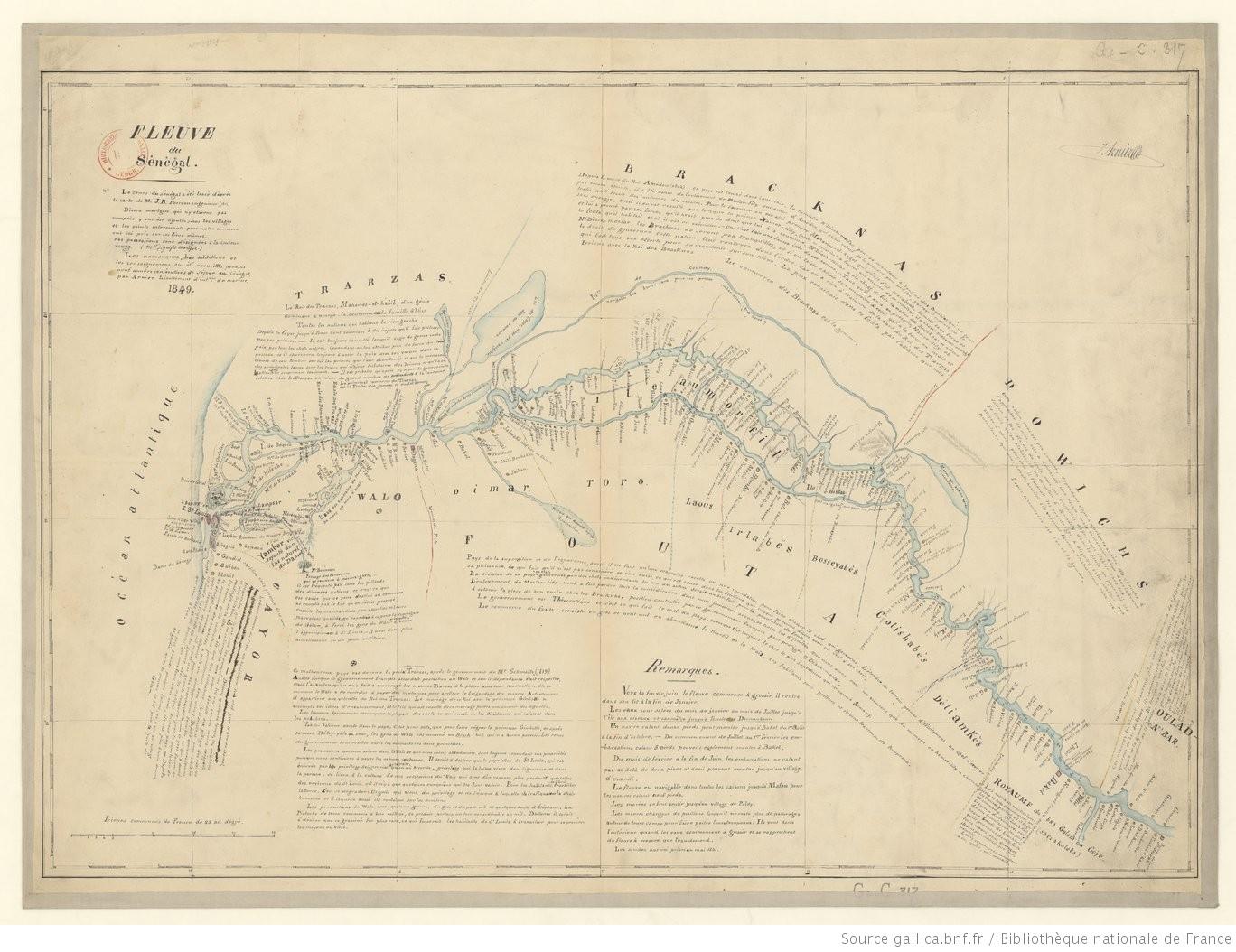 Map of the Senegal River, 1849.