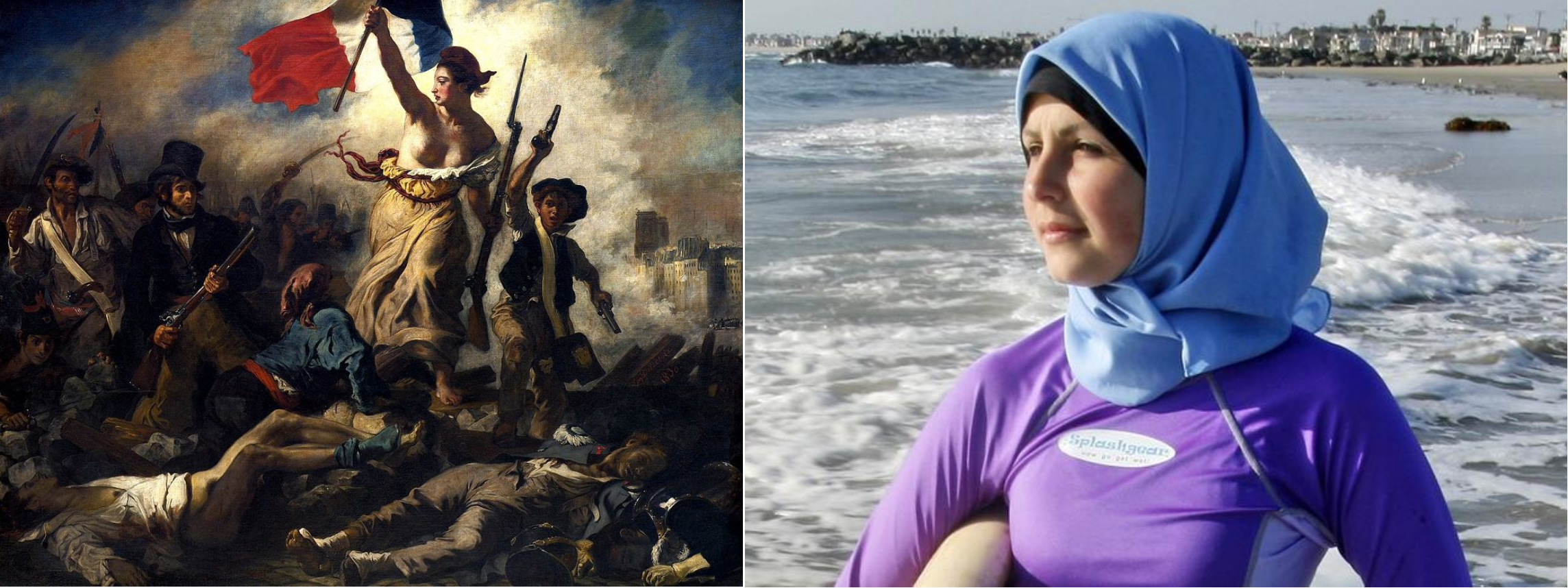 Left: painting of woman leading a crowd and holding a French flag. Right: Samantha Wareh wearing a Burkina on the beach.