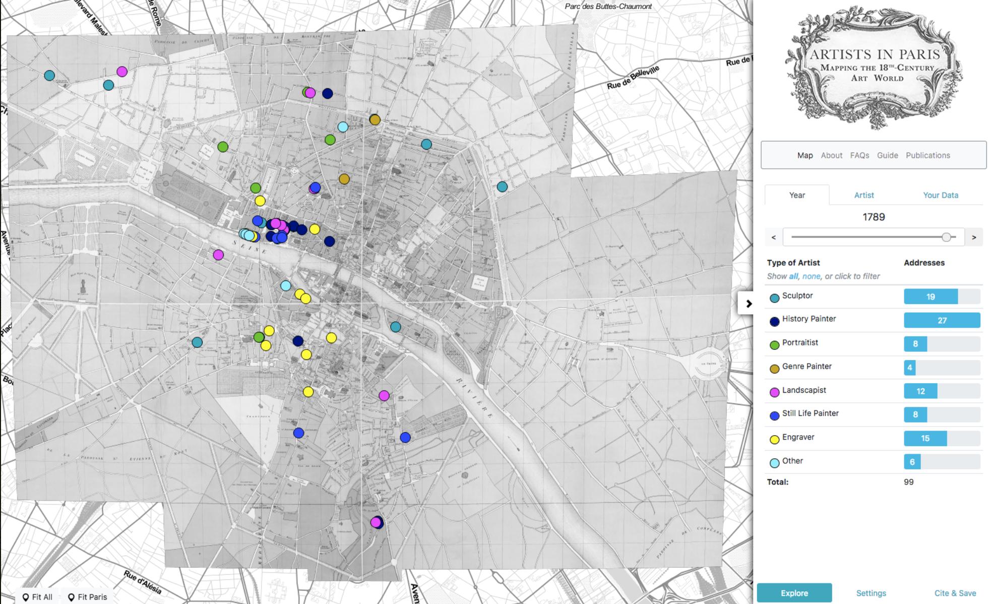 Map of Paris highlighting artists' addresses.