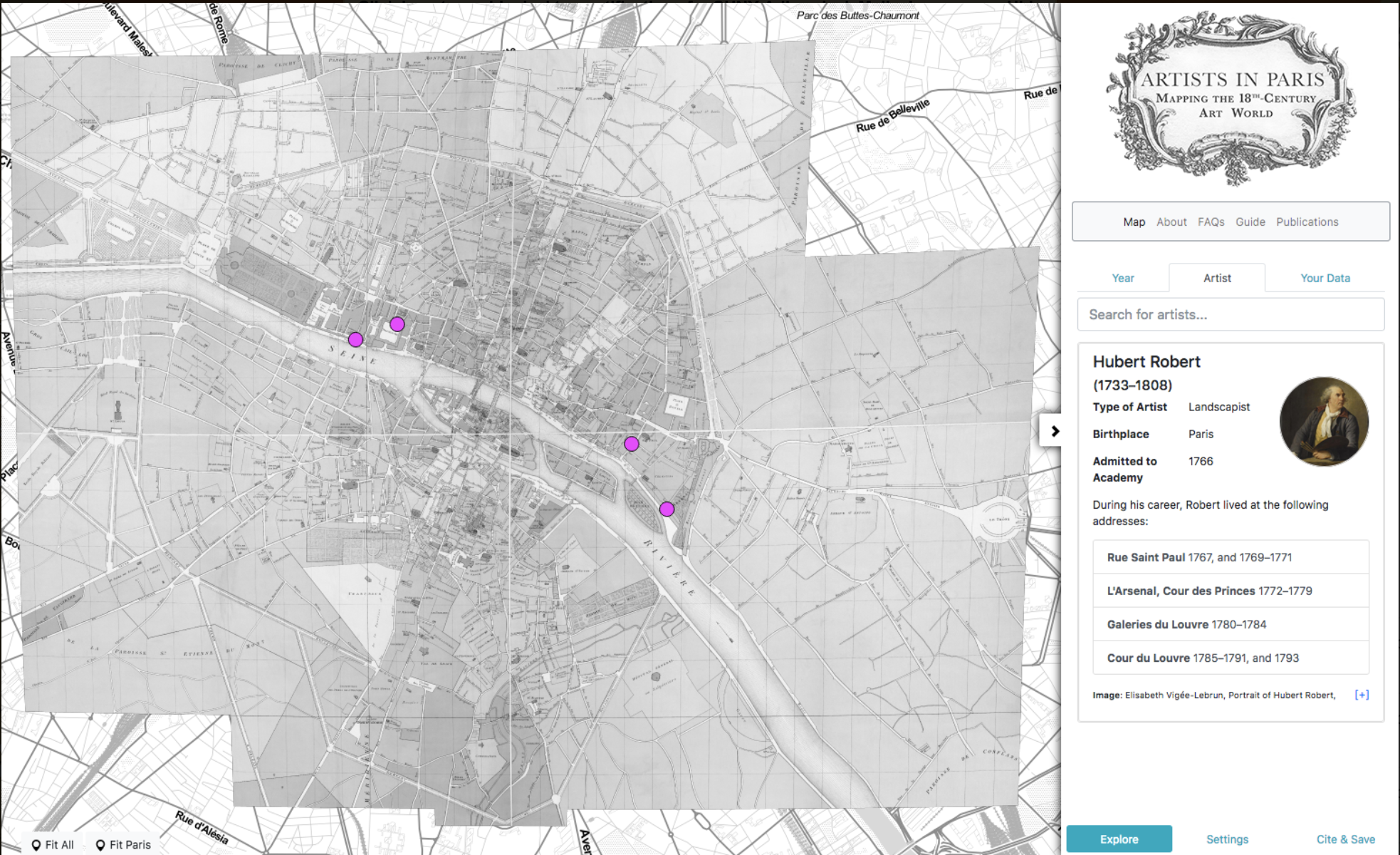 Map of Paris with all the addresses where Hubert Robert lived.
