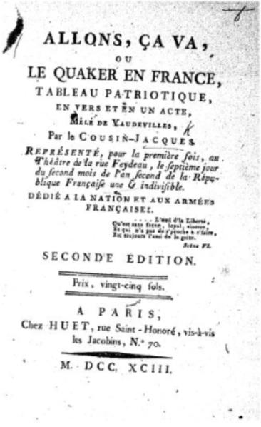Title page of Allons, Ça va by Le Cousin-Jacques.