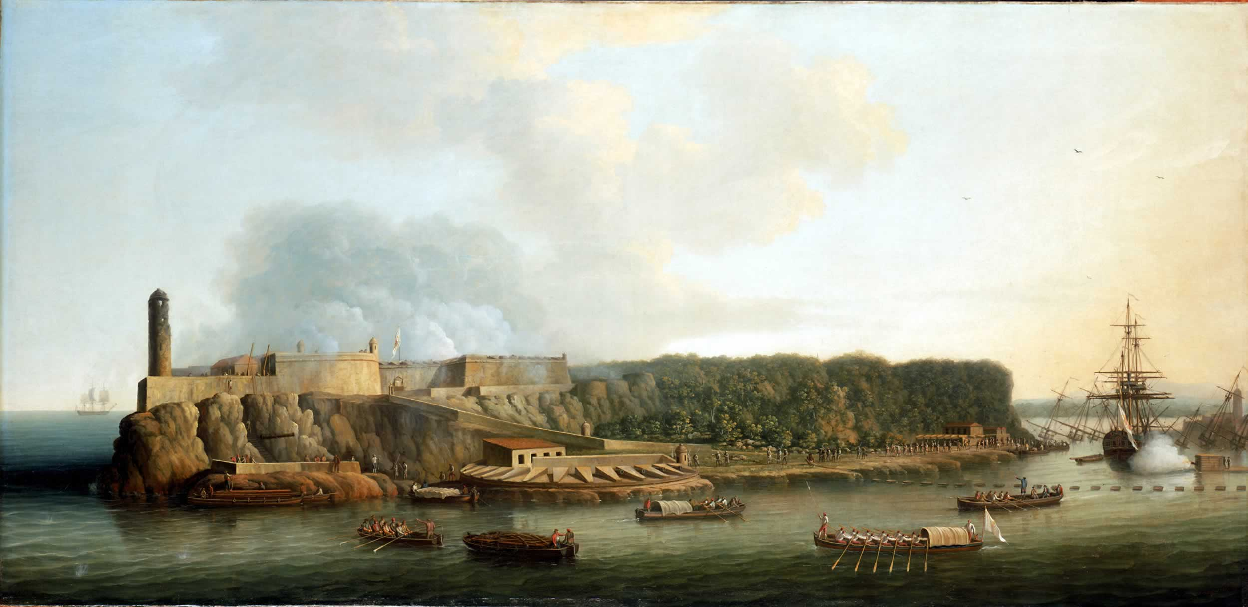 Painting of the Morro Castle surrounded by ships and soldiers.