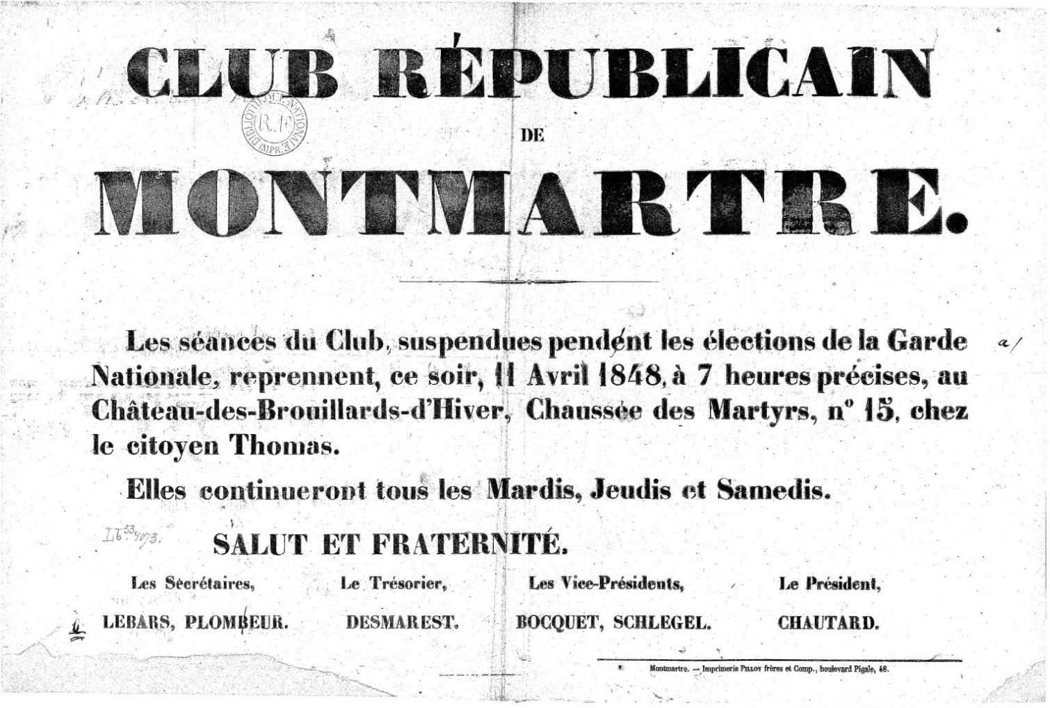 Advertisement for the meetings of the Club Républicain de Montmartre.