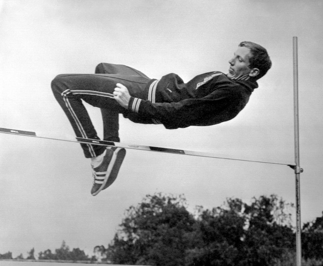 Dick Fosbury doing a high jump.