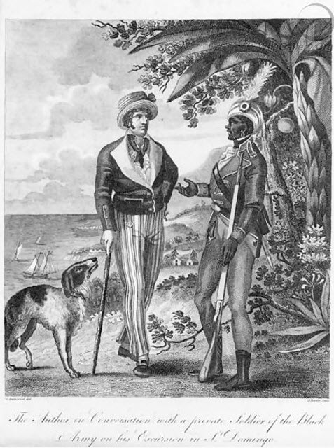 Engraving of a Haitian soldier talking to a white man.