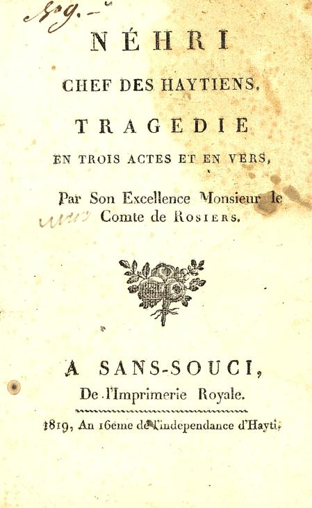 Title page of Néhri chef des Haytiens by Le Comte de Rosiers.