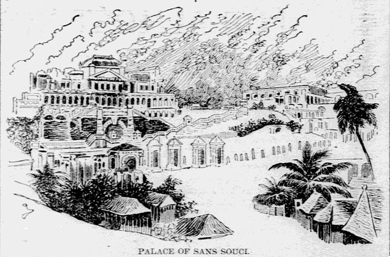 Drawing of the palace of Sans-Souci.