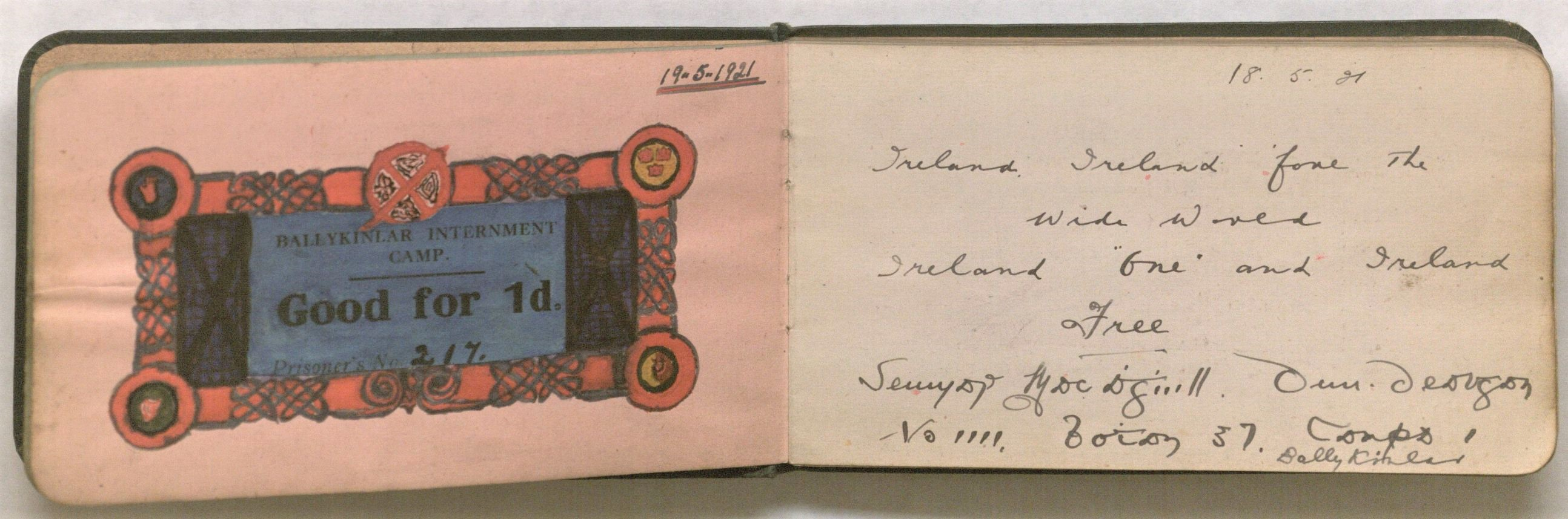 A camp credit ticket for use in the canteen, decorated in Celtic Revival style.