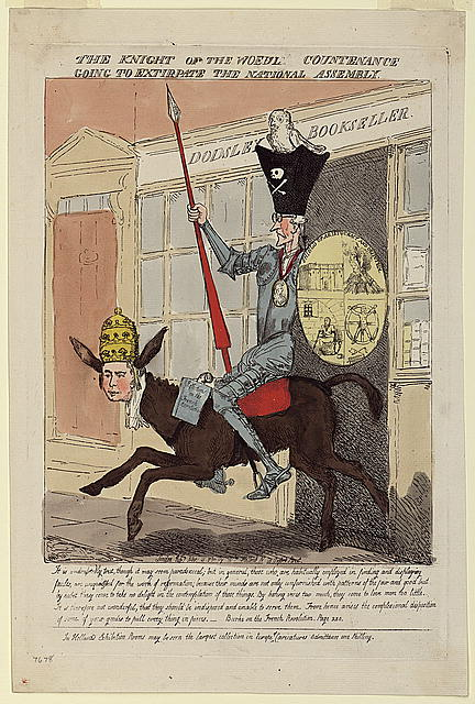 Satirical cartoon of a knight riding a donkey with a man's face.