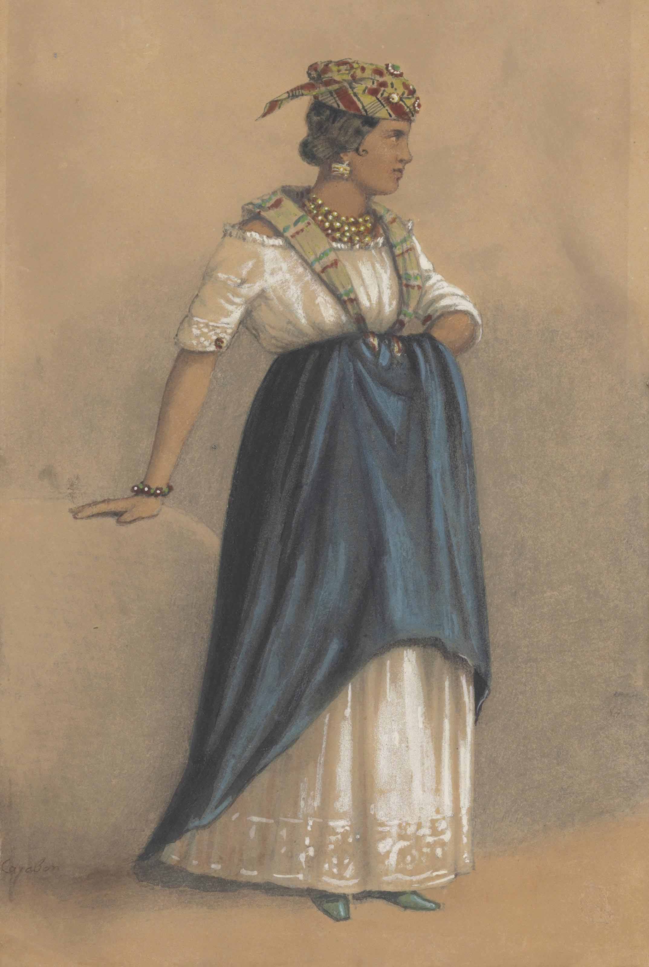 Painting of a woman dressed in traditional Afro-Caribbean dress.