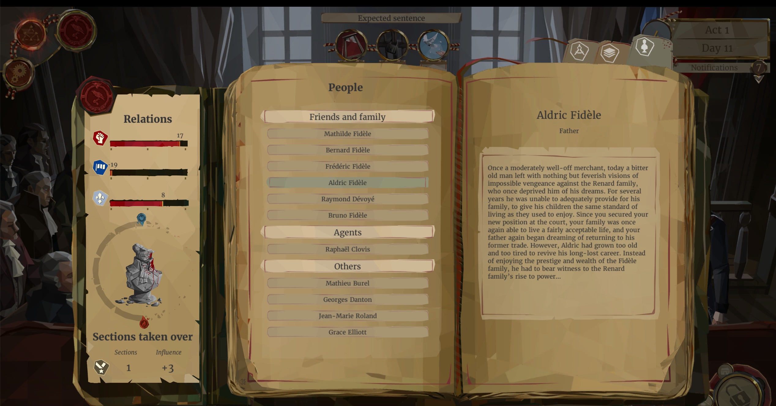 Screenshot of the game, with a list of family members.