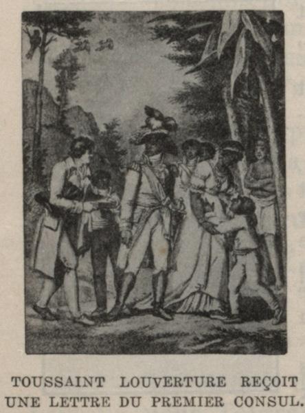 Drawing of Toussaint Louverture receiving a letter.