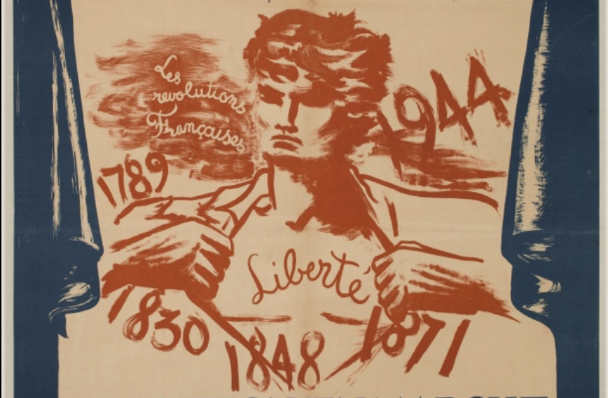 Drawing of a man pulling off his shirt and covered with the dates of the French Revolutions.