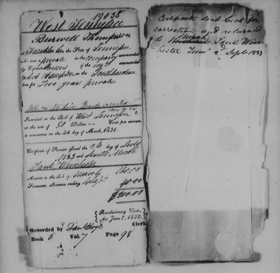 Revolutionary War pension application.