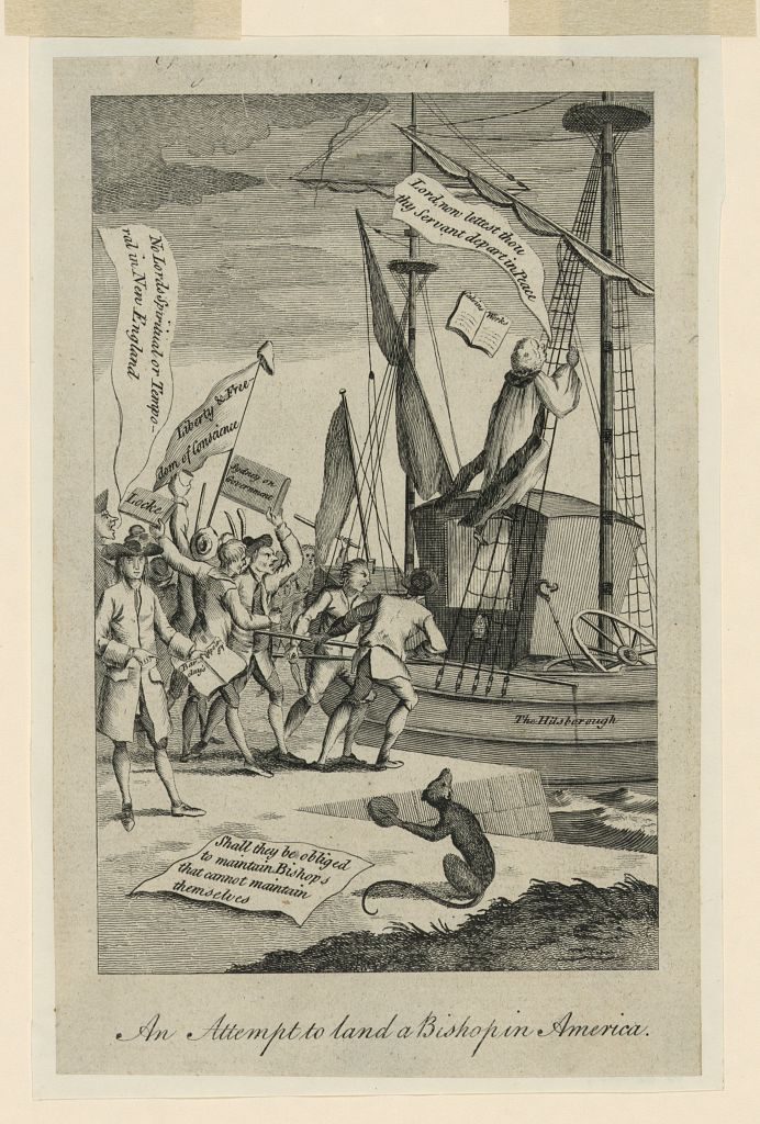 Engraving of men pushing a ship away from the shore.