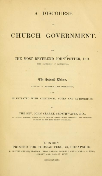 Title page of A discourse of Church Government by John Potter.