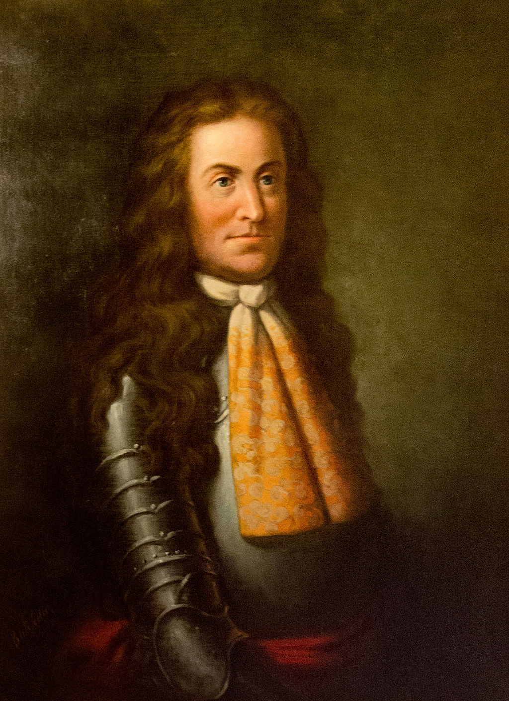 Portrait of Sir Edmund Andros in his armor.