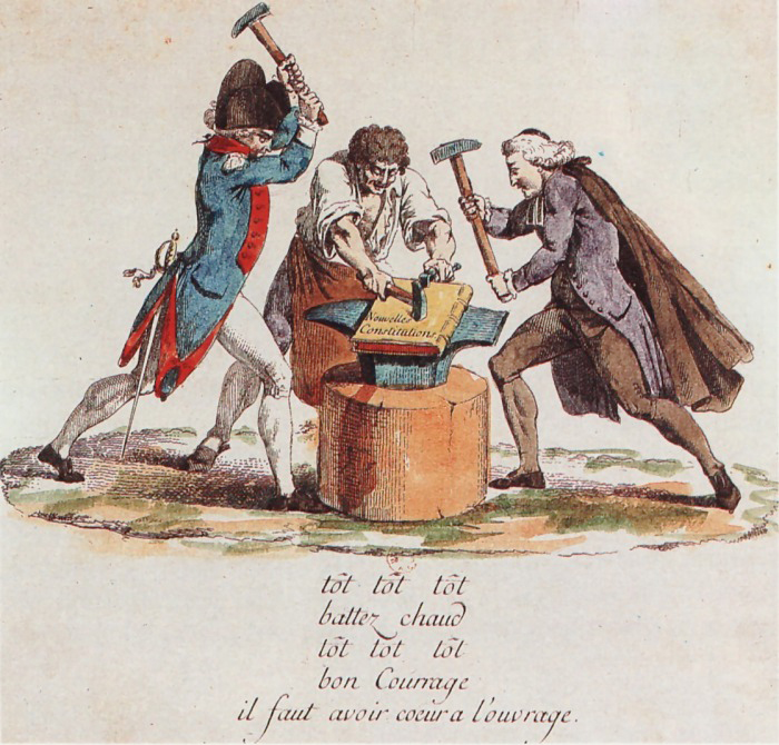 Drawing of men from the three estates working on the Constitution.
