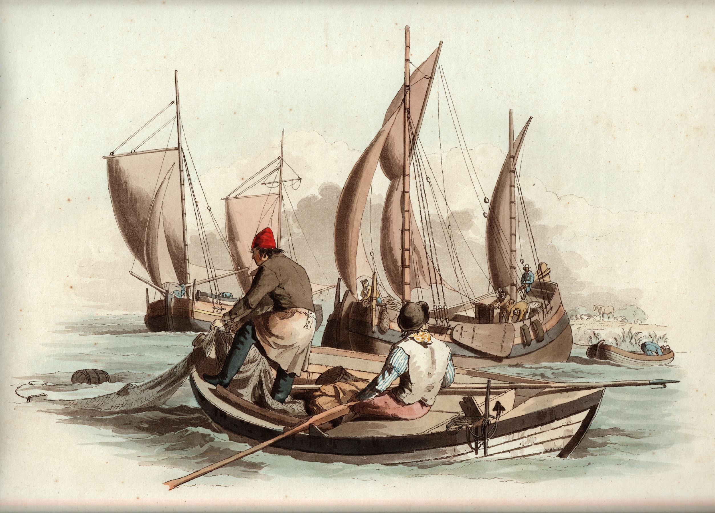 Painting of three fishermen boats.