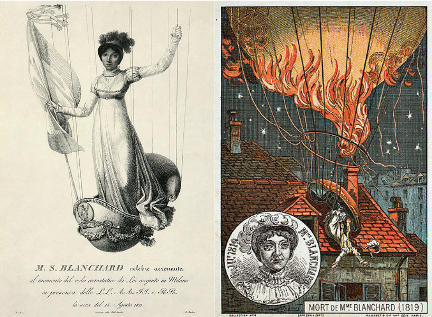 Left: a portrait of M.S. Blanchard  Right: drawing of M.S. Blanchard falling off a hot air ballon on a house roof.