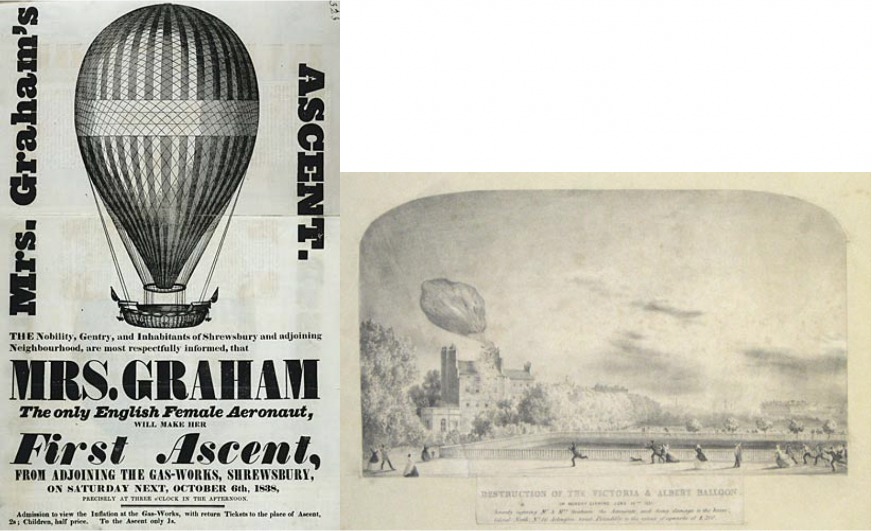 Left: advertisement for Mrs. Graham's balloon. Right: drawing of the destruction of the Victoria and Albert Balloon.