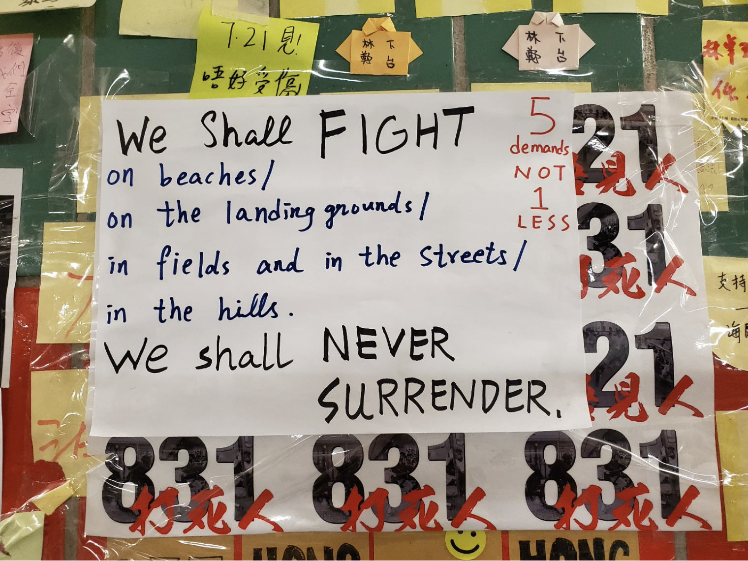 "Poster in Tai Po Lennon Tunnel that reads ""We shall fight, we shall never surrender."""