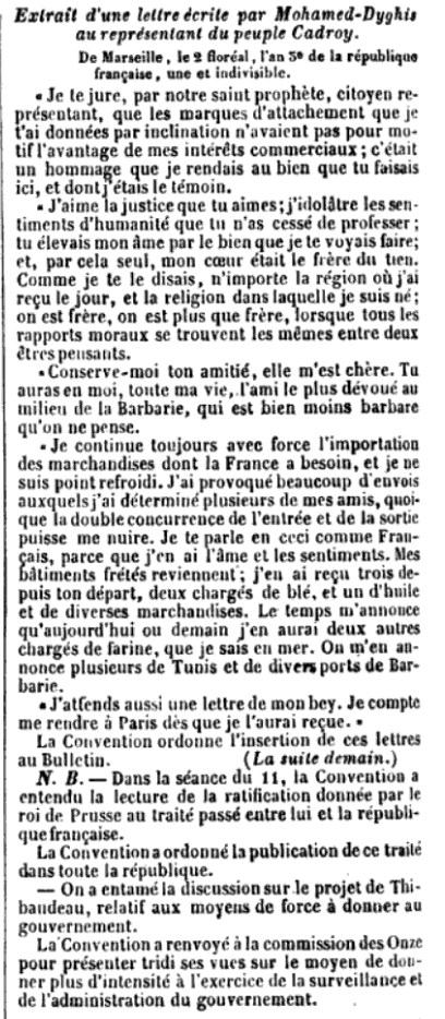 Page of a letter written by Mohamed d'Ghies to a representative.