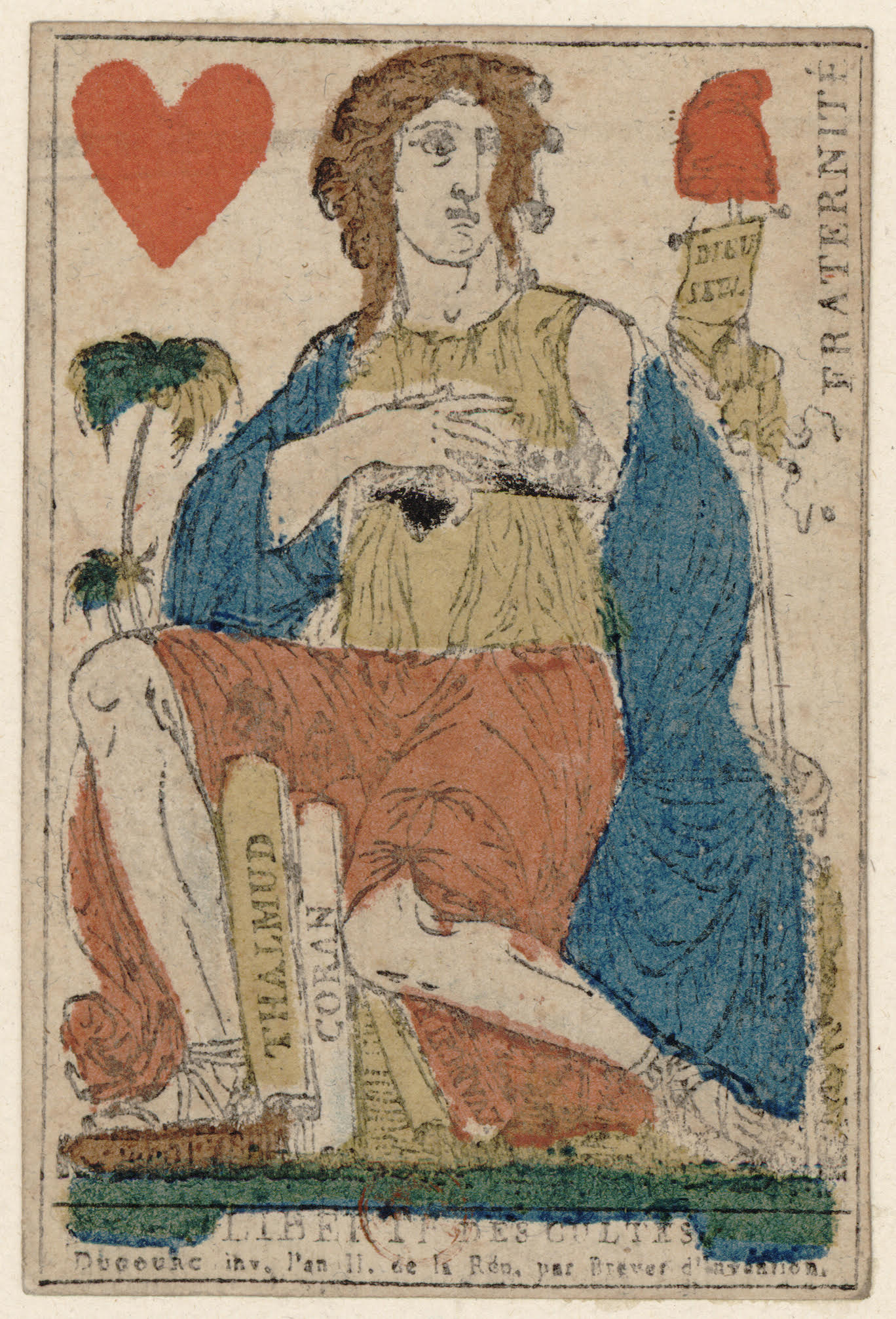 A playing card that shows a woman seating with the Koran and the Thalmud.