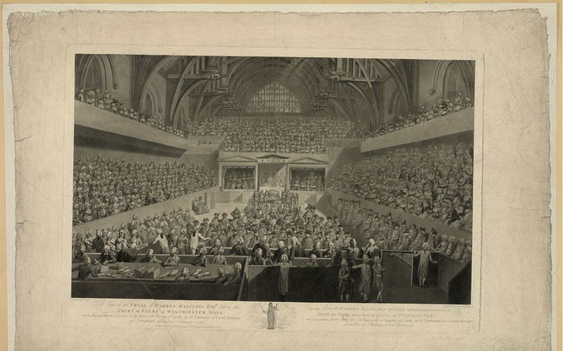 Engraving of the trial of Warren Hastings.