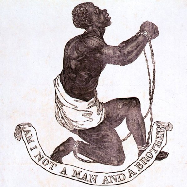 "Drawing of an African slave in chains with the caption ""Am I not a man and a brother?"""