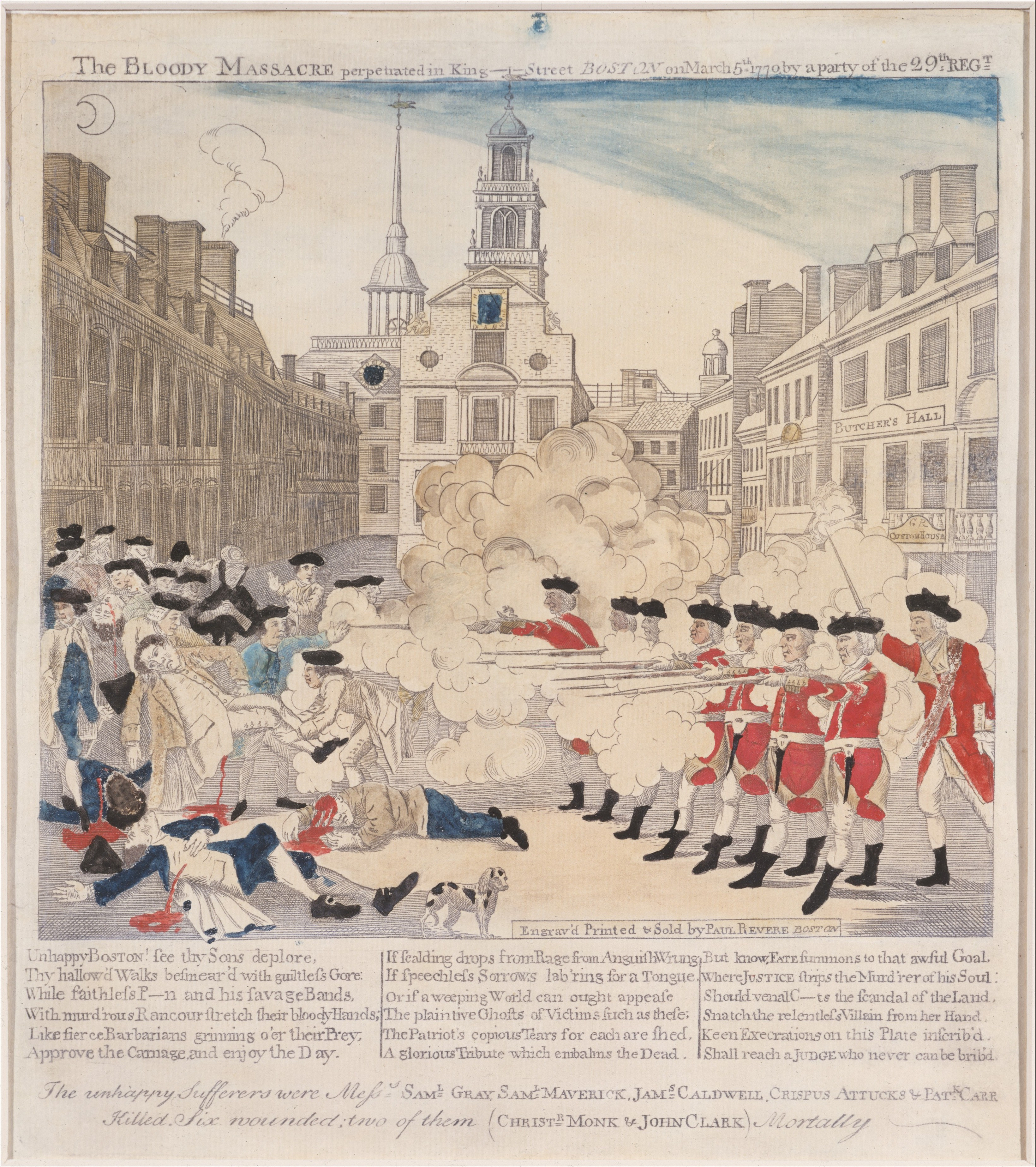 Drawing of soldiers shooting the crowd during the Boston massacre.